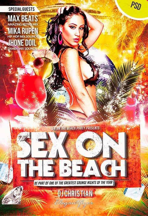 Sex On The Beach Club and Party Free Flyer PSD Template