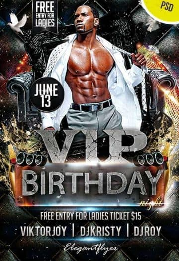 vip birthday bash free psd flyer template