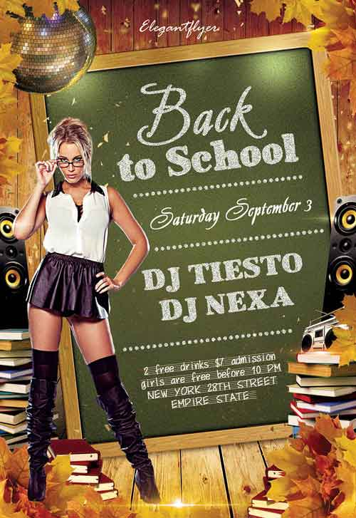 Back To School Club Party Free Flyer PSD Template