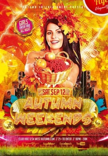 Autumn Weekends Free Club Party Flyer PSD Template