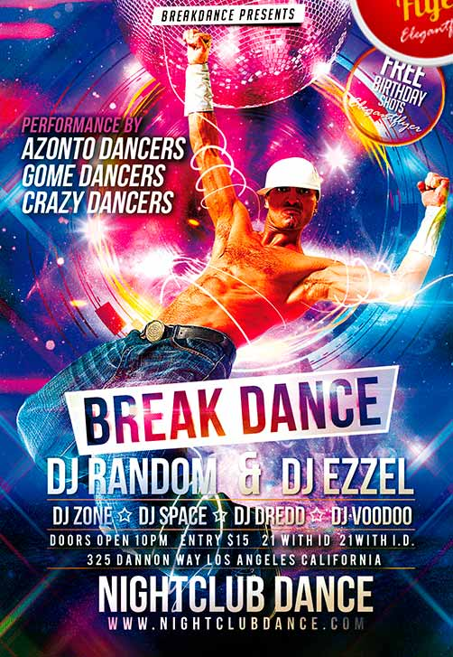 Break Dance Free Club and Party Flyer PSD Template
