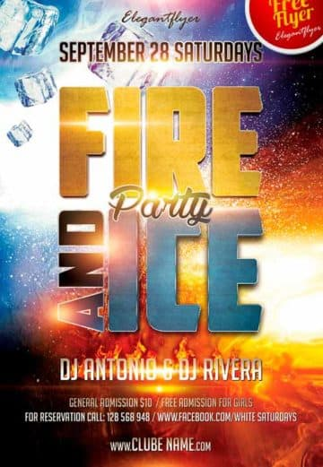 Ice and Fire Party Free Club Party Flyer PSD Template for Photohshop
