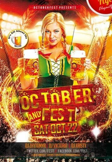 October Fest – Free Party Flyer PSD Template