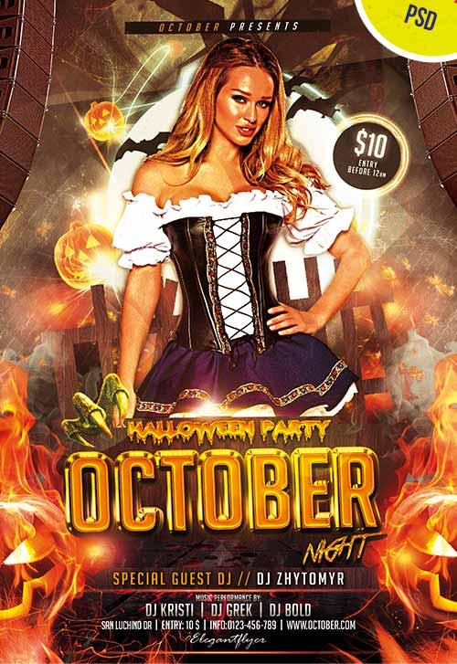 october night free halloween flyer psd template