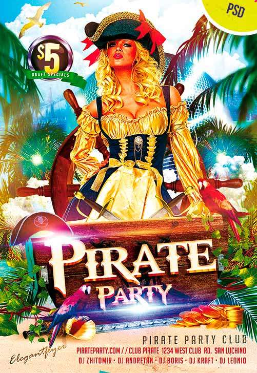 Pirate Party Club Party Free Flyer PSD Template