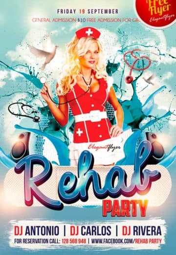 Rehab party – Free Club Flyer PSD Template