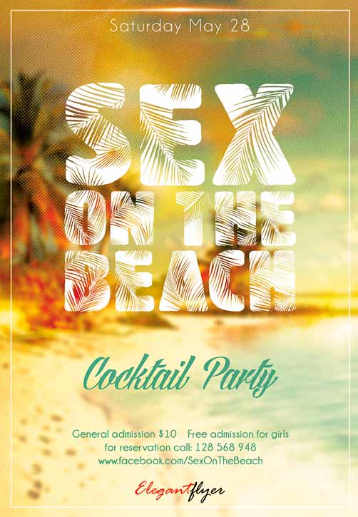Sex On The Beach Club Party Free Flyer Template - Freebie