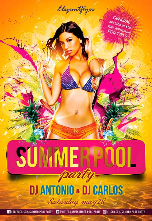 Summer Pool Party – Free Club And Party Flyer