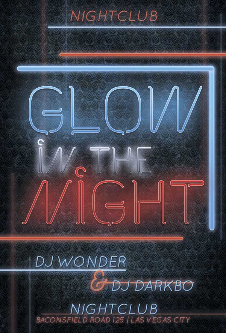 Download the Free Glow Night PSD Flyer Template