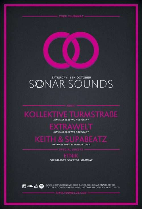 Free Flyer Template: Sonar Sound Vol.2 Minimal PSD Flyer Template