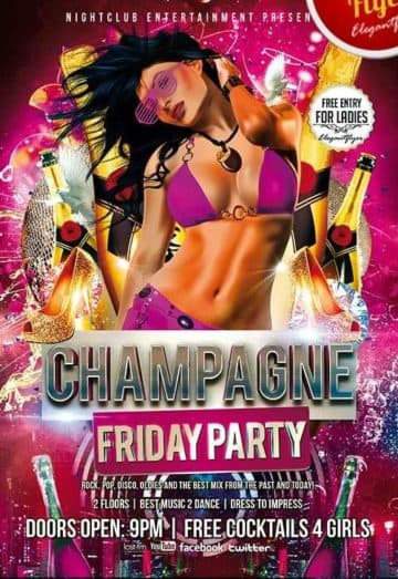 Champagne Friday Party Free Club and Party Flyer PSD Template
