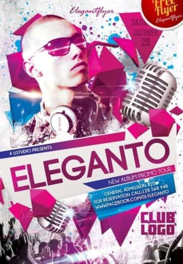 Dj Eleganto Free Club and Party Flyer PSD Template