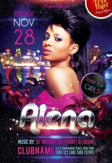 Guest DJ Party Alena Free Club and Party Flyer