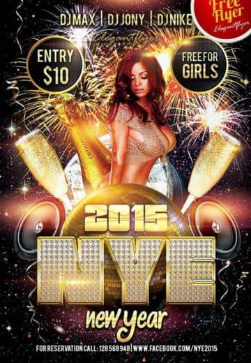 Free New Year Club and Party Flyer PSD Template