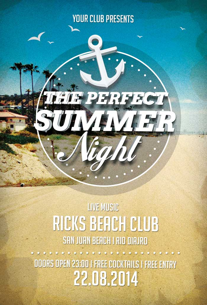 Perfect Summer Nights Free PSD Flyer Template