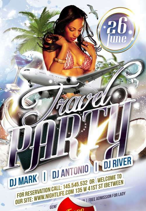 Free Travel Party Club Flyer PSD Template