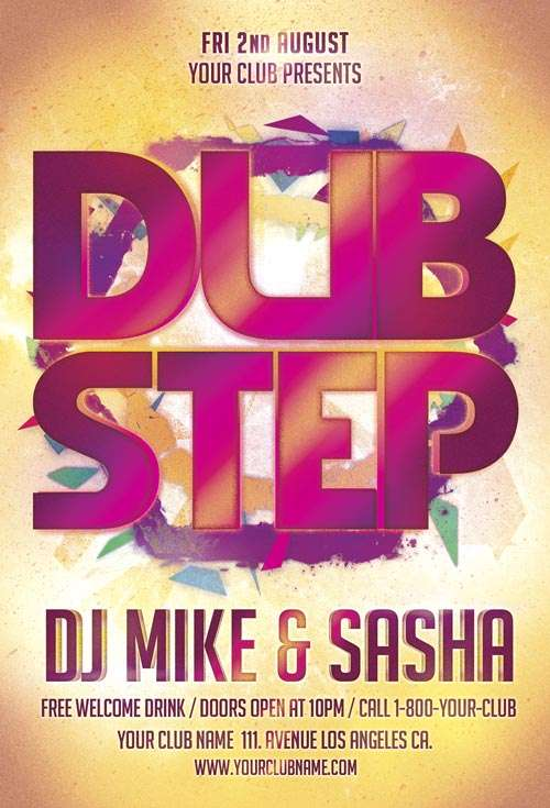 Download Free Dub Step Party Flyer Template for Photoshop