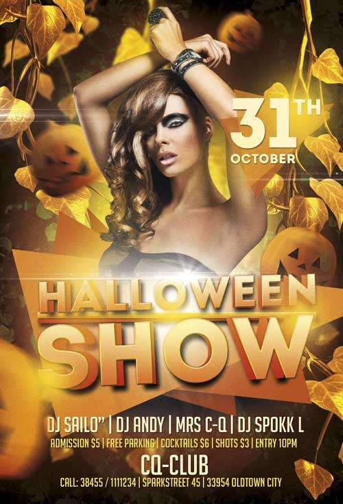 Free Halloween Show PSD Flyer Template