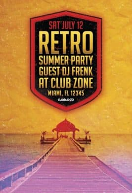 Free Retro Summer Party Flyer Template