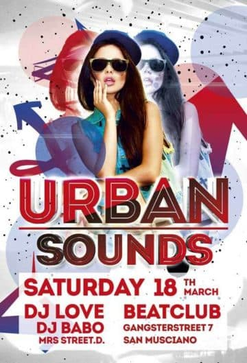 Urban Sounds Party Free Flyer Template