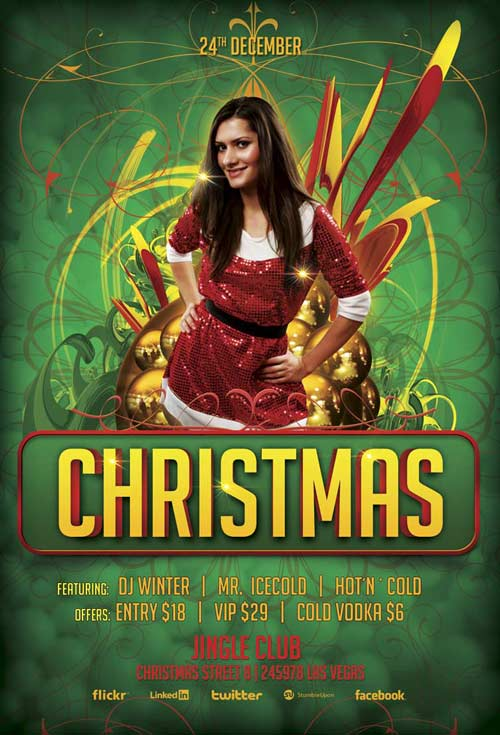 Free Christmas Bash Party Flyer Template