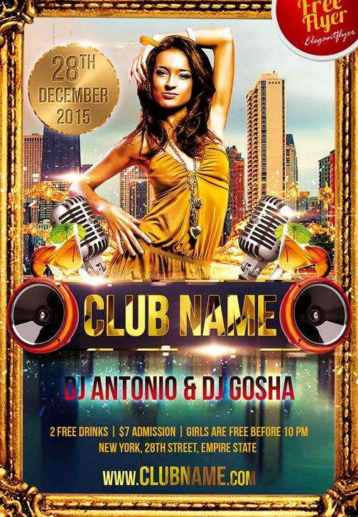Free Club Name Party Flyer Template
