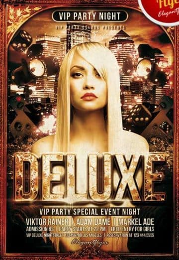 Deluxe Party Free Club and Party Flyer
