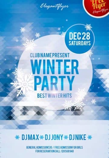 Winter Party Free Club Party Flyer PSD Template