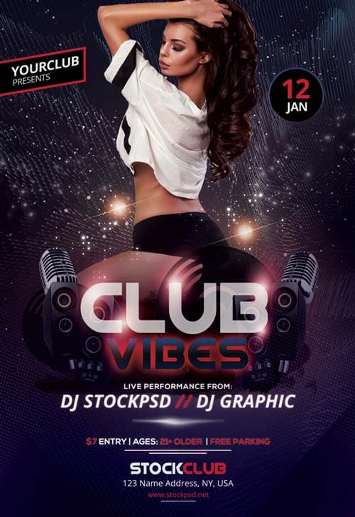 Club Vibes Party Flyer Template Psd Freebies For Party And Club Events
