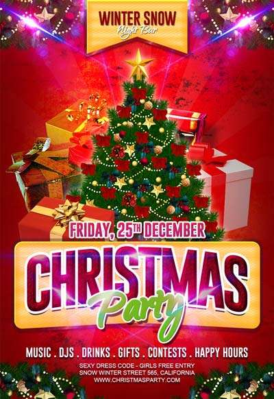 Free Christmas Party Flyer Template - Download For Photoshop
