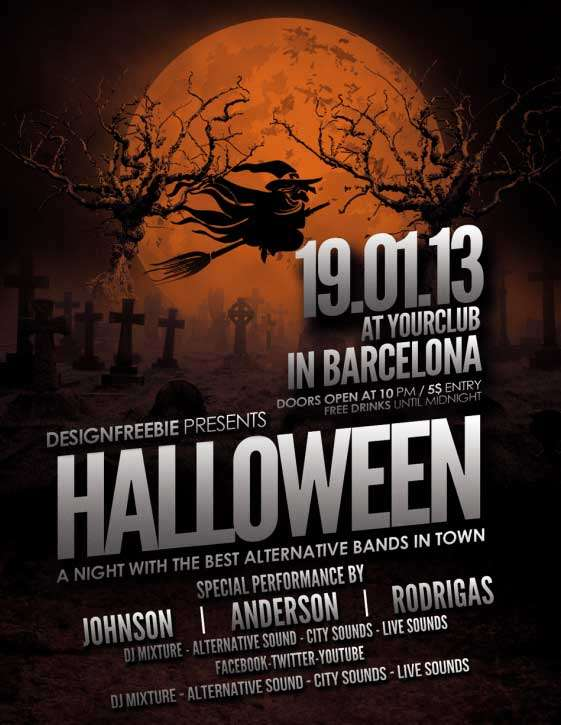 Free halloween party flyer template for Free halloween flyer templates