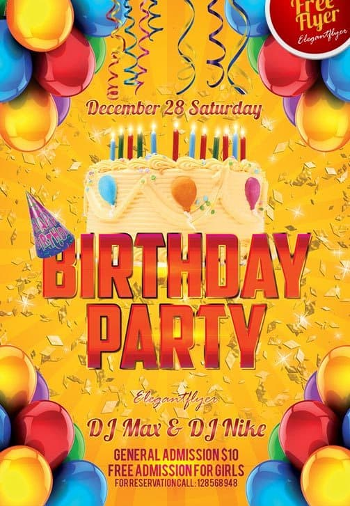 Birthday Party Free Club Party Flyer PSD Template