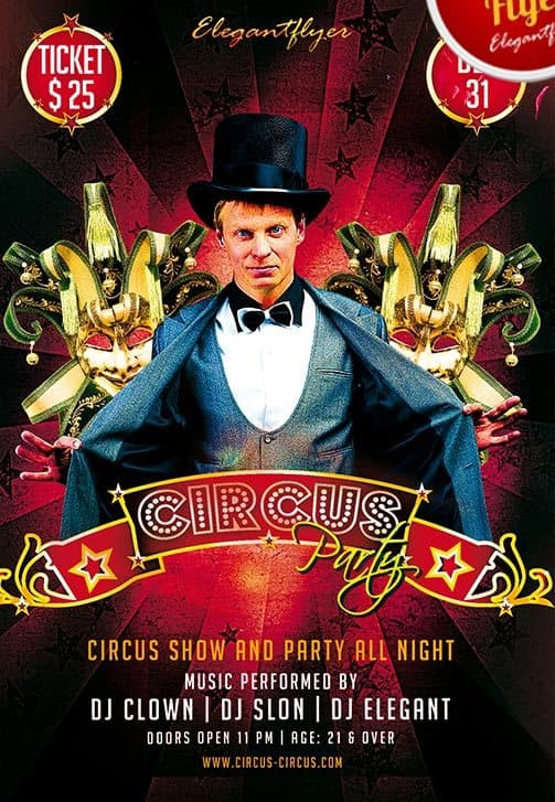 Free Circus Party Flyer Template