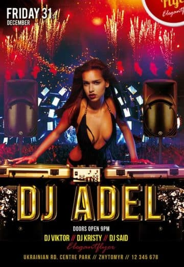 DJ Adel Club Party Free Flyer PSD Template