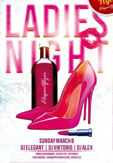 Ladies Night Free Club and Party PSD Flyer Template