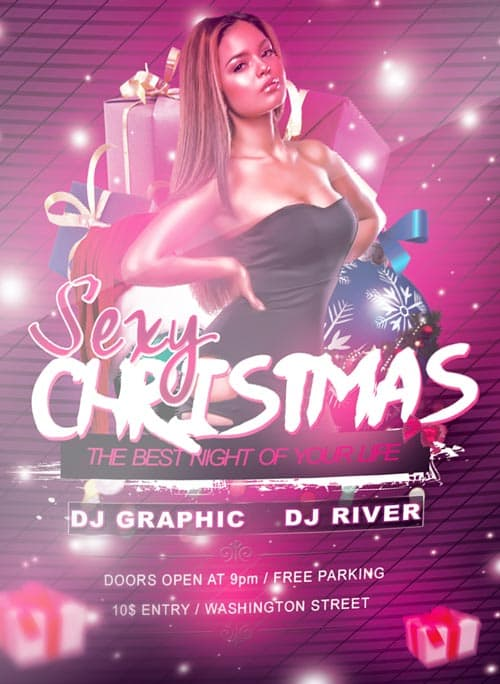 sexy christmas free psd flyer template