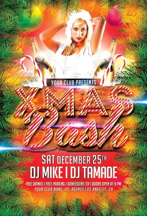 Free Xmas Bash Christmas Party PSD Flyer Template