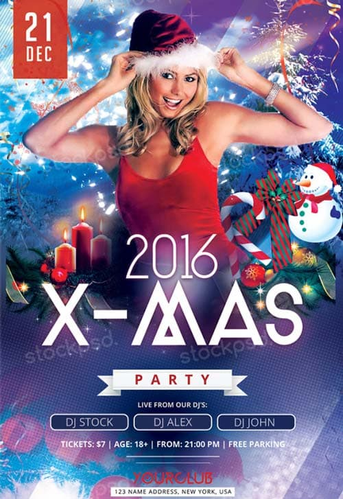 2016 X-Mas Party Free Flyer PSD Template