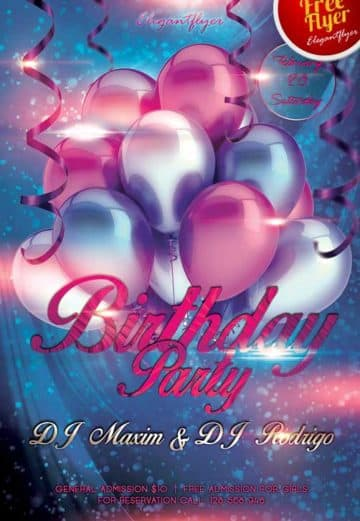 Free Birthday Party Club Flyer PSD Template