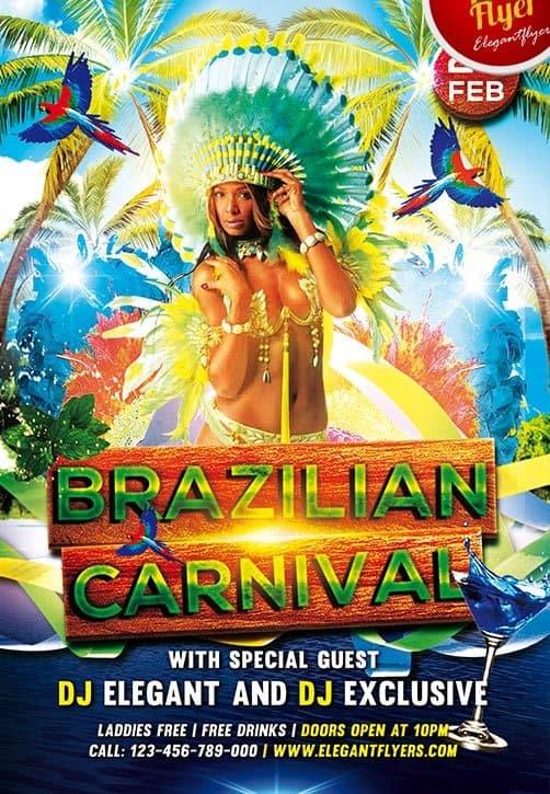 Free Brazilian Carnival Flyer PSD Template