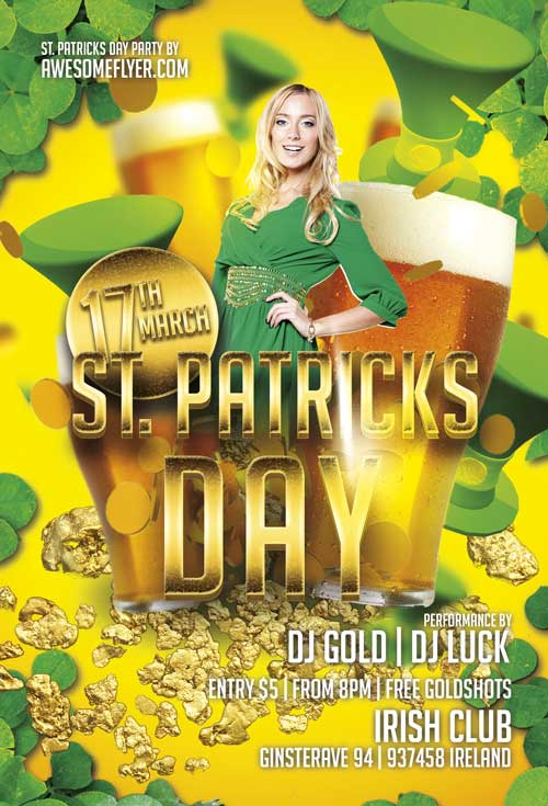 Free St. Patricks Day Gold Flyer Template
