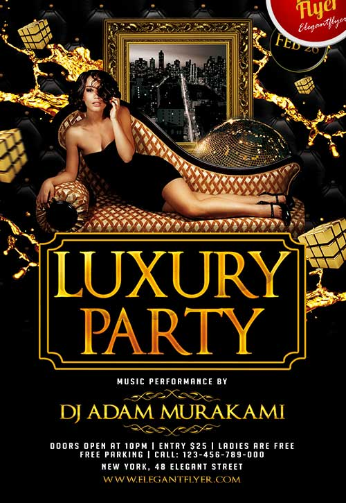 Free Luxury Party Club Flyer PSD Template