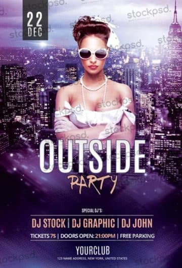 Download the Outside Party Free Flyer PSD Template