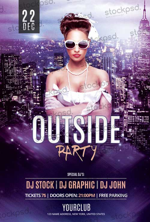 Freepsdflyer download the outside party free flyer psd for Free club flyer templates