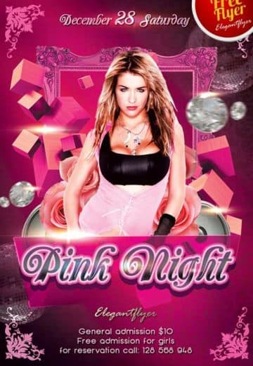 Free Pink Valentines Day Night Flyer Template