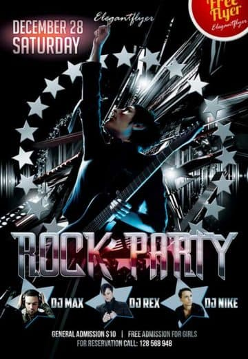 Rock Party Club Party Free Flyer PSD Template