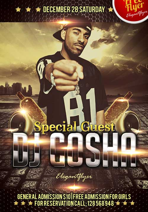 Special Guest Dj Club Party Free Flyer PSD Template