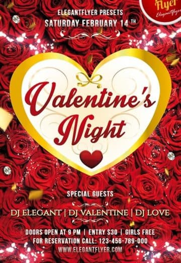 Free Valentine´s Night Club and Party Flyer PSD Template