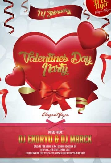 Free Valentines Day Party Flyer PSD Template