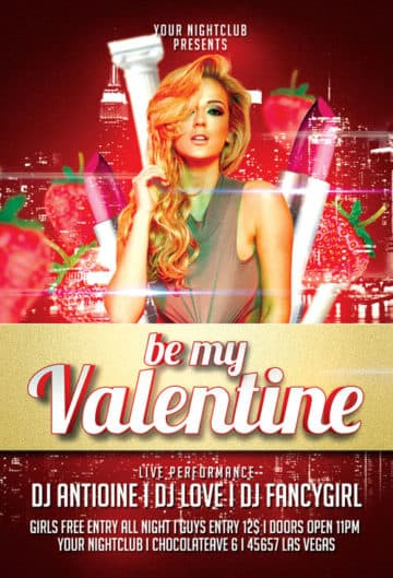 Free Be My Valentine Flyer Template